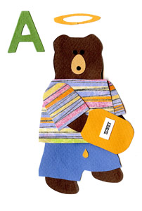 A for angel, Angel bear with paw inside a honey jar