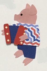 A for accordion Accordion playing pig