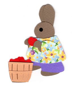 A for apples, Rabbit holding an apple standing next to a basketful of apples