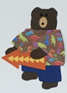 A for arrow, Bear holding a directional arrow pointing left