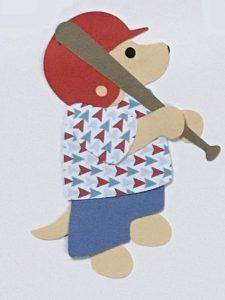 B for bat, Dog baseball player holding a bat
