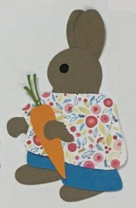 C for carrot, bunny holding carrot