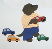 C for cars, Dog with toy cars
