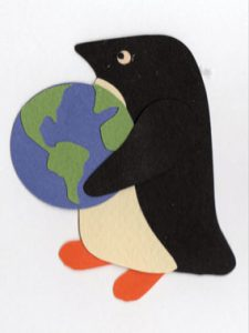 E for Earth, penguin holding an Earth globe