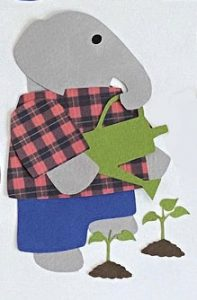 G for garden, Elephant watering plants with a watering can