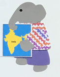I for india, Elephant holding a map of India