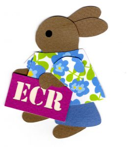 "I for initials, Rabbit holding s sign with the initials ""ECR"""