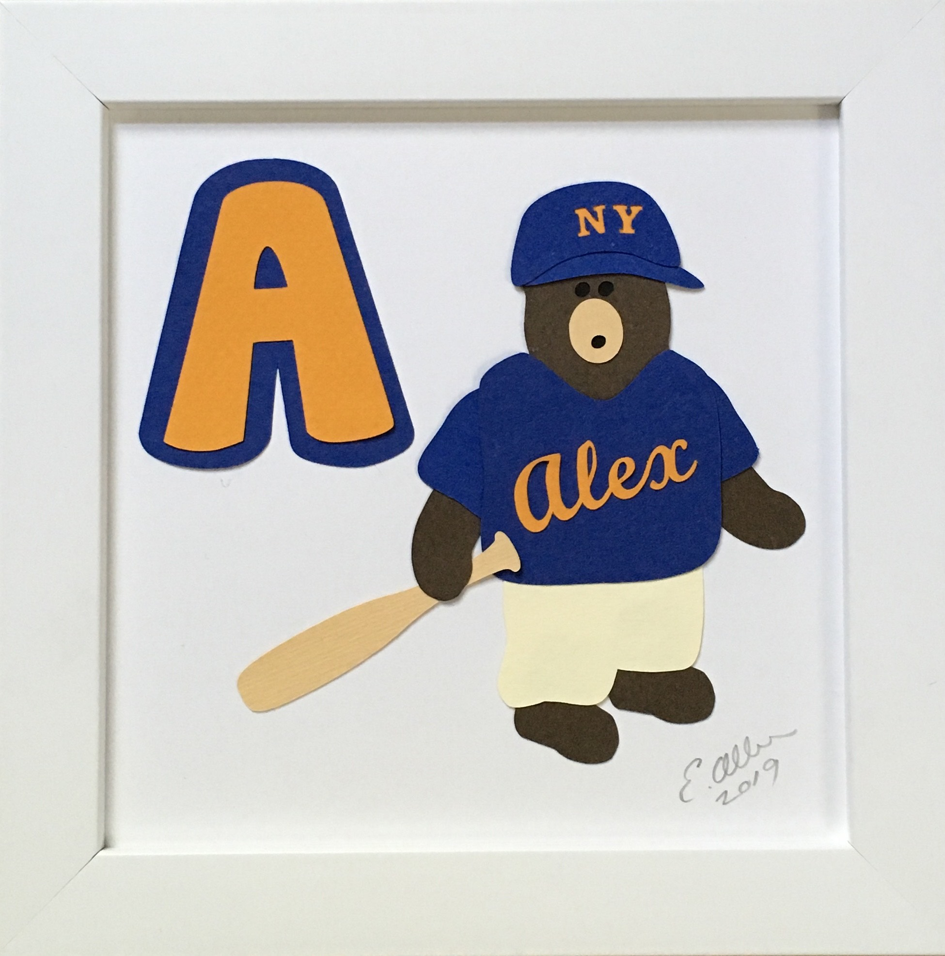 A for Alex, Bear in a baseball uniform with a bat