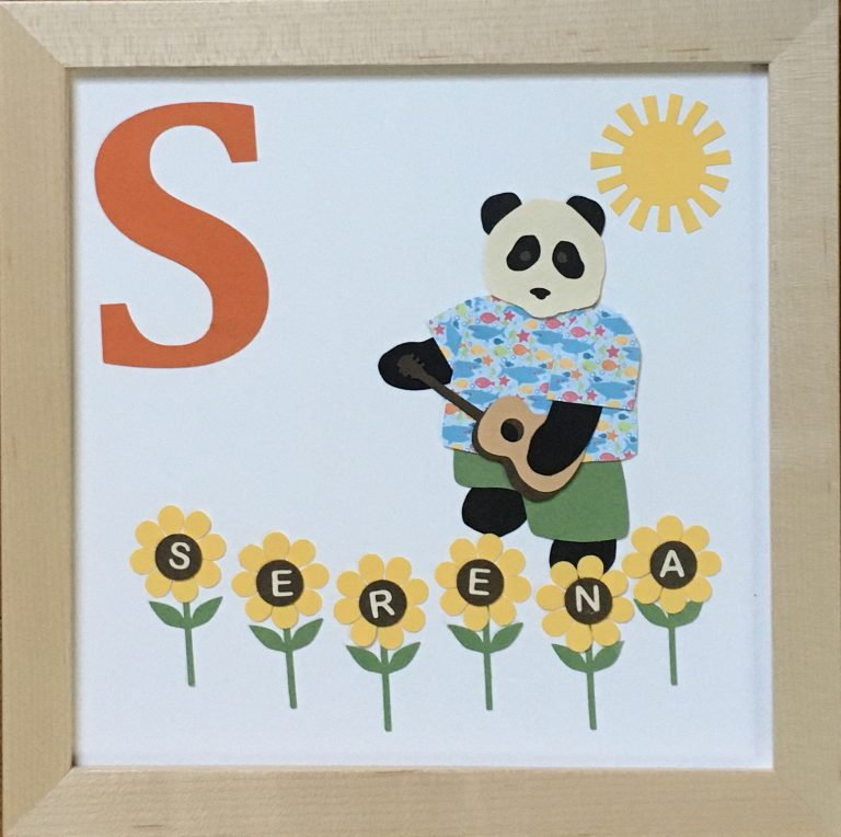S for Serena, panda with sunflowers, sun, and a shark shirt, plus ukulele requested by the client