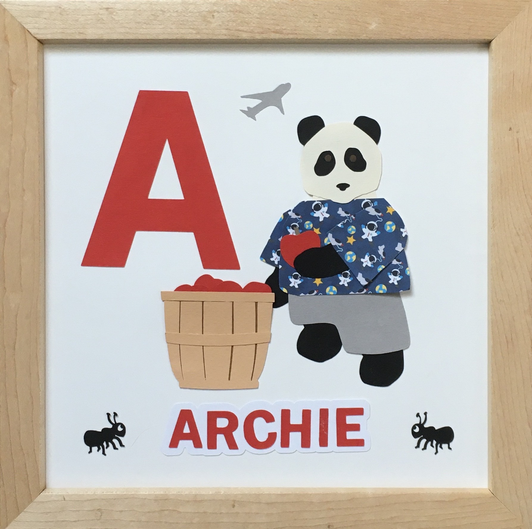 A for Archie, Panda with ants, apples, airplane, and an astronaut shirt