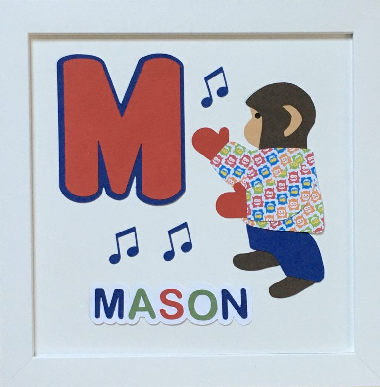 M for Mason with monkey, music, mittens, and a monster shirt