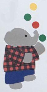 J for juggler, Elephant juggling balls