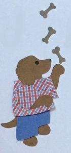 J for juggler, Dog juggling bones