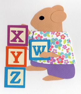 L for letters, Mouse stacking alphabet blocks