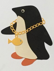 N for necklace, Penguin wearing necklace with a fish charm