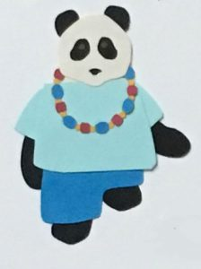 N for necklace, Panda wearing bead necklace