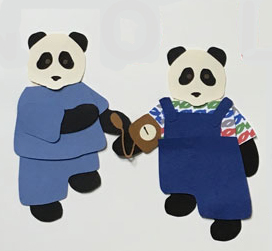 N for nurse, Panda in scrubs taking another panda's pulse