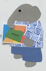 O for Oregon, Elephant holding a map of Oregon