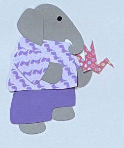 O for origami, Elephant holding an origami crane