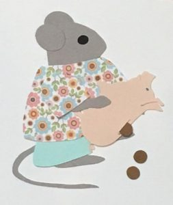 P for piggybank, Mouse holding a piggybank with coins falling out