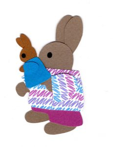 P for puppet, Rabbit holding a rabbit puppet