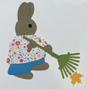 R for rake, Rabbit holding a rake and raking leaves