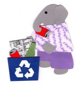 R for recycling, Elephant placing a can in a recycling bin