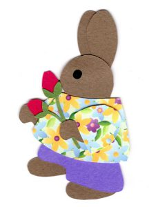 R for rosebuds, Rabbit holding rosebuds
