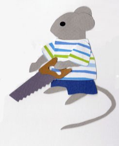 S for saw, Mouse holding a saw