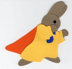 S for superhero, bunny in a superhero outfit with cape