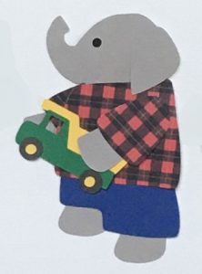 T for truck, Elephant holding a toy dump truck