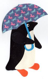 U for umbrella, Penguin holding umbrella with a unicorn pattern