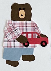 V for van, Bear holding a red toy van