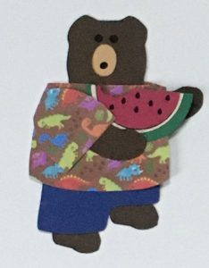 W for watermelon, Bear holding a watermelon slice with a bite out of it