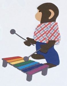 X for xylophone, Monkey playing a rainbow colored xylophone