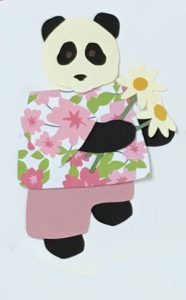 D for daisies, Panda holding daisies