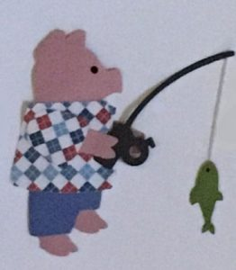 F for fish, Pig holding a fishing pole with a fish on the line