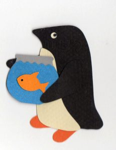 G for goldfish, Penguin holding a fishbowl containing a goldfish