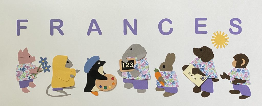 FRANCES with pig, mouse, penguin, elephant, rabbit, dog, and monkey - F for flowers, R for raincoat, A for artist, N for numbers, C for carrot, E for envelope, S for sun