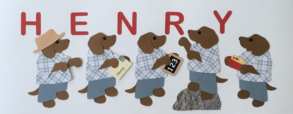 HENRY with dogs- H for hat, E for envelope, N for numbers, R for rock, Y for yacht