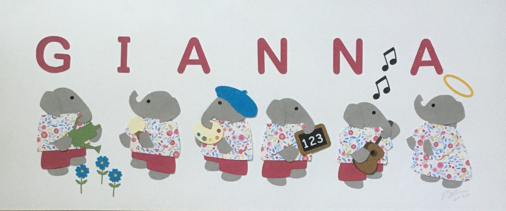 GIANNA with elephants - G for garden, I for ice cream, A for artist, N for numbers, N for notes, A for angel