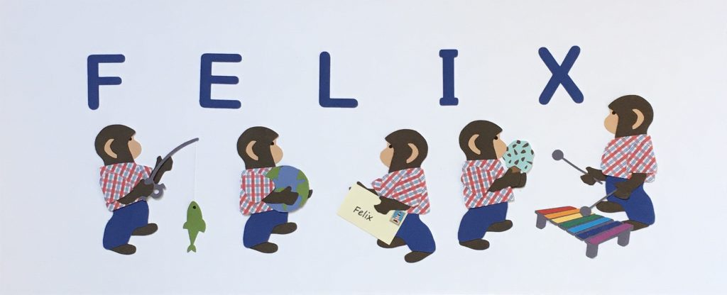 FELIX with monkeys - F for fish, E for earth, L for letter, I for ice cream, X for xylophone