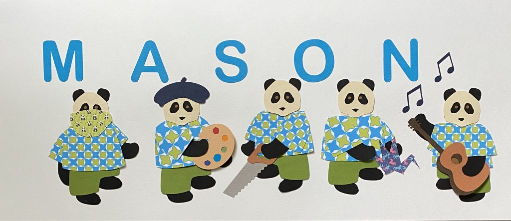 MASON with pandas - M for mask, A for artist, S for saw, O for origami, N for notes