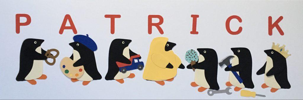 PATRICK with penguins - P for pretzel, A for artist, T for truck, R for raincost, I for ice cream, C for carpenter, K for king