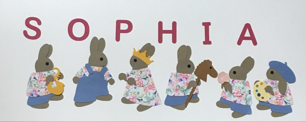 SOPHIA with rabbits - S for saxophone, O for overalls, P for princess, H for horse, I for ice cream, A for artist