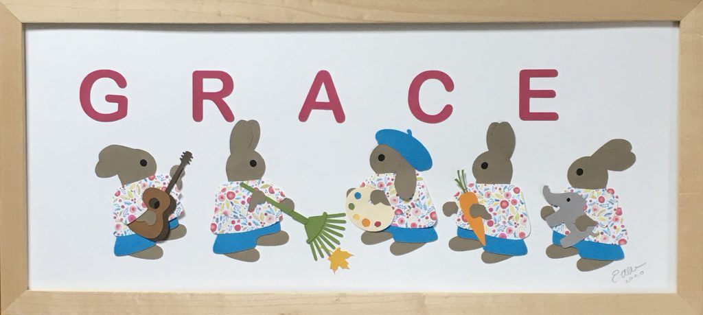 GRACE with rabbits - G for Guitar, R for Rake, A for Artist, C for Carrot, E for Elephant